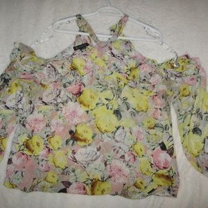 I.N.C. international concepts yellow pink blouse
